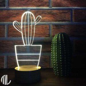 چراغ خواب گل کاکتوس سه بعدی