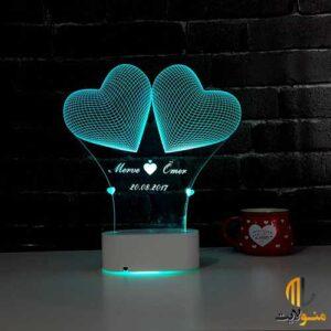 چراغ خواب سه بعدی قلب با متن دلخواه