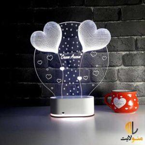 چراغ خواب سه بعدی دایره و قلب