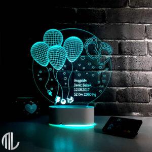 چراغ خواب سه بعدی بادکنک با متن دلخواه